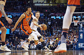 Cleveland Cavaliers Matthew Dellavedova in action vs Oklahoma City Thunder Russell Westbrook at Chesapeake Energy Arena Oklahoma City OK CREDIT Greg...
