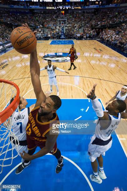Cleveland Cavaliers Tristan Thompson in action dunking vs Dallas Mavericks at American Airlines Center Dallas TX CREDIT Greg Nelson