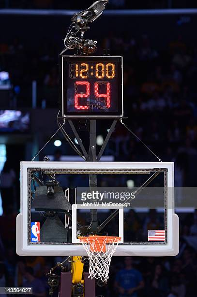 Closeup of basket and shot clock before Oklahoma City Thunder vs Los Angeles Lakers game at Staples Center Equipment Los Angeles CA 4/22/2012 CREDIT...