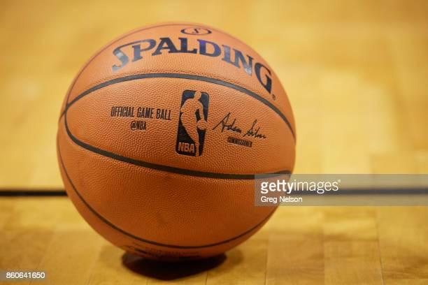 Closeup of basketball before Oklahoma City Thunder vs Houston Rockets preseason game at BOK Center Equipment Tulsa OK CREDIT Greg Nelson