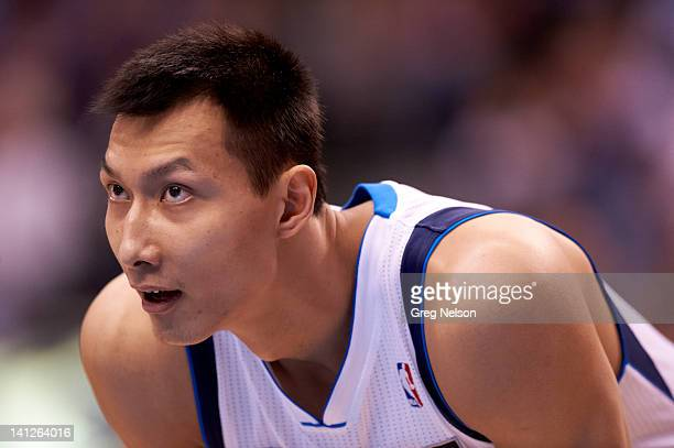 Closeup of Dallas Mavericks Yi Jianlian during game vs New York Knicks at American Airlines Center Dallas TX CREDIT Greg Nelson
