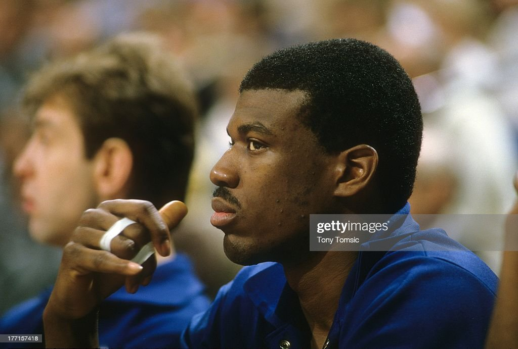 Closeup of New York Knicks <a gi-track='captionPersonalityLinkClicked' href=/galleries/search?phrase=Bernard+King&family=editorial&specificpeople=214248 ng-click='$event.stopPropagation()'>Bernard King</a> (30) on bench vs Indiana Pacers at Market Square Arena. View of injured fingers taped together.Indianapolis, IN 2/27/1985CREDIT: Tony Tomsic