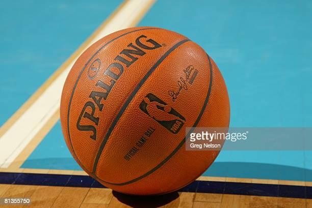 Basketball Closeup of Spalding ball equipment during New Orleans/ Oklahoma City Hornets vs Houston Rockets preseason game Oklahoma City OK 10/9/2007