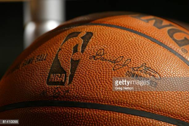 Basketball Closeup of Spalding ball equipment with signature by NBA commissioner David Stern during San Antonio Spurs vs Dallas Mavericks game Dallas...
