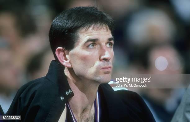 Closeup of Utah Jazz John Stockton on bench during game vs Los Angeles Lakers at The Forum Inglewood CA CREDIT John W McDonough