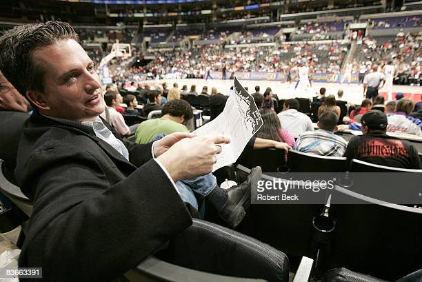 Closeup portrait of ESPNcom writer Bill Simmons in stands during Los Angeles Clippers vs New Jersey Nets game Los Angeles CA 1/25/2006 CREDIT Robert...