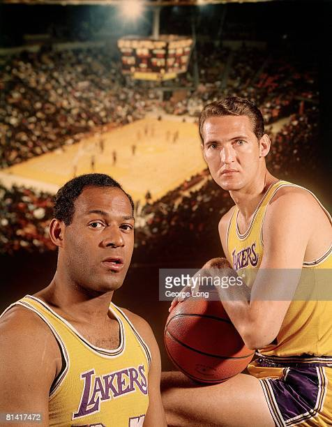 Basketball Closeup portrait of Los Angeles Lakers Elgin Baylor and Jerry West Dye transfer of The Forum Cover Los Angeles CA 4/18/1968