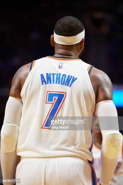 Closeup rear view of Oklahoma City Thunder Carmelo Anthony during preseason game vs Houston Rocketsat BOK Center Tulsa OK CREDIT Greg Nelson