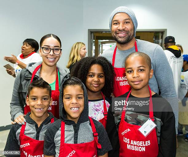 Basketball Coach and Former LA Laker Derek Fisher Gloria Govan and kids attend the Los Angeles Mission Christmas Celebration at Los Angeles Mission...