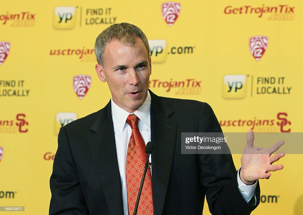 Basketball coach <a gi-track='captionPersonalityLinkClicked' href=/galleries/search?phrase=Andy+Enfield&family=editorial&specificpeople=5624033 ng-click='$event.stopPropagation()'>Andy Enfield</a> addresses the audience during the press conference to introduce Enfield as USC's new basketball head coach on April 3, 2013 in Los Angeles, California.