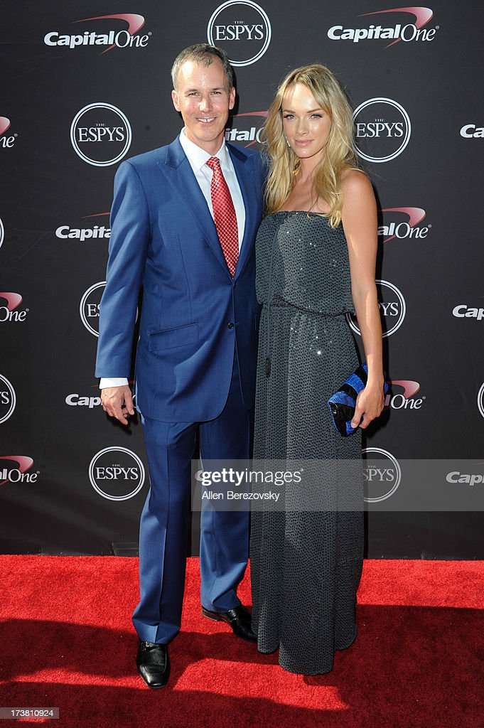 Basketball coach Andy Enfield (L) and a guest arrive at the 2013 ESPY Awards at Nokia Theatre L.A. Live on July 17, 2013 in Los Angeles, California.