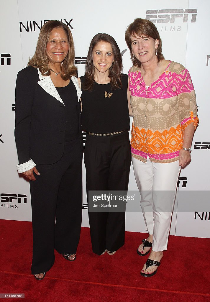 Basketball Coach C Vivian Stringer director Bess Kargman and Vice President Content Programming and Development at ESPN Carol Stiff attend 'Venus Vs'...