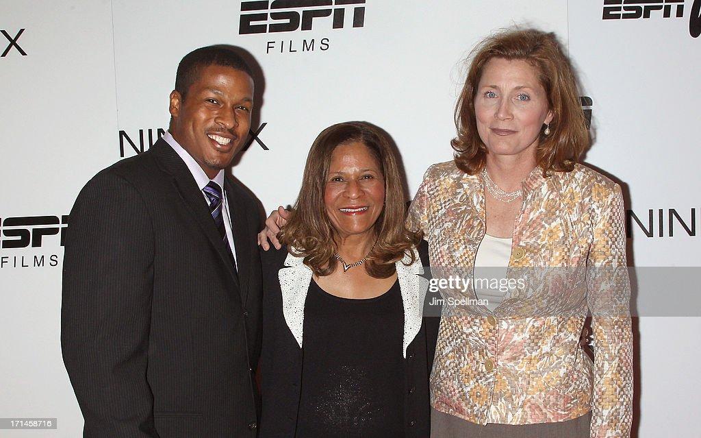 Basketball Coach C Vivian Stringer son Justin Stringer and Athletic Director at Rutgers University Julie Hermann attend 'Venus Vs' and 'Coach' New...