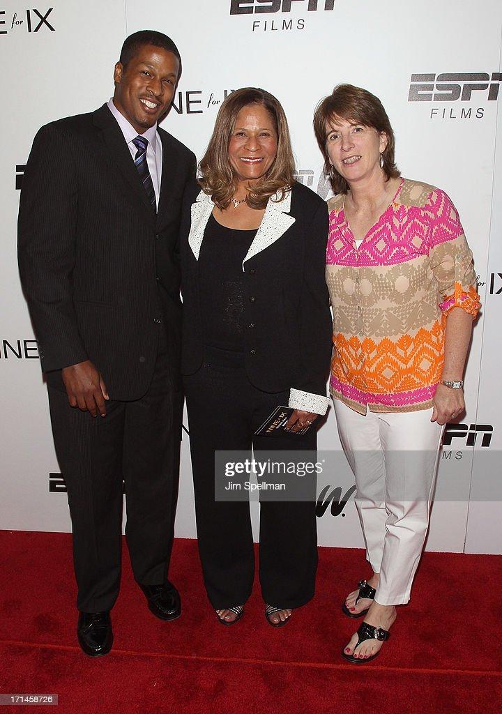 Basketball Coach C Vivian Stringer son Justin Stringer and Vice President Content Programming and Development at ESPN Carol Stiff attend 'Venus Vs'...