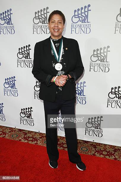 Basketball coach Cheryl Miller attends the 31th Annual Great Sports Legends Dinner to benefit The Buoniconti Fund to Cure Paralysis at The Waldorf...