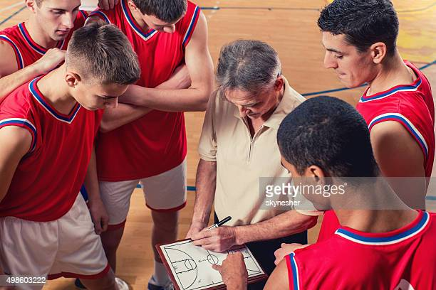 Basketball coach drawing game strategy with basketball team.