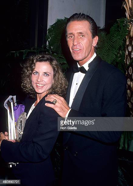Basketball coach Pat Riley and wife Christine attend the Athletes Entertainers for Kids' AllStar Tribute to Kareem AbdulJabbar on April 24 1989 at...