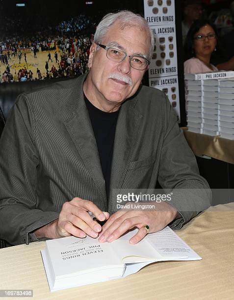 Basketball coach Phil Jackson attends a signing for his book 'Eleven Rings The Soul of Success' at Costco on June 1 2013 in Hawthorne California