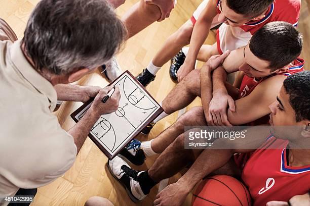 Treinador de basquetebol com a sua equipa.