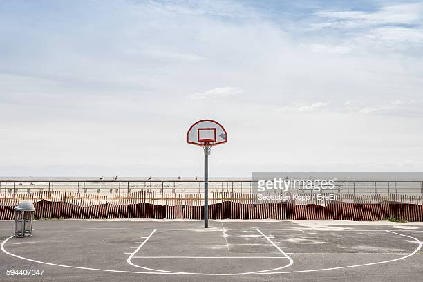 Basketball Court Against Cloudy Sky