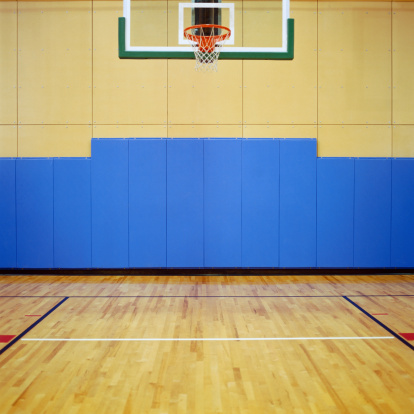 Empty Basketball Court Side View