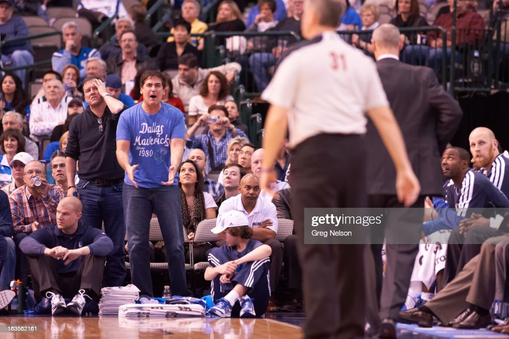 Dallas Mavericks owner Mark Cuban upset, in stands during game vs Houston Rockets at American Airlines Center. Greg Nelson F22 )