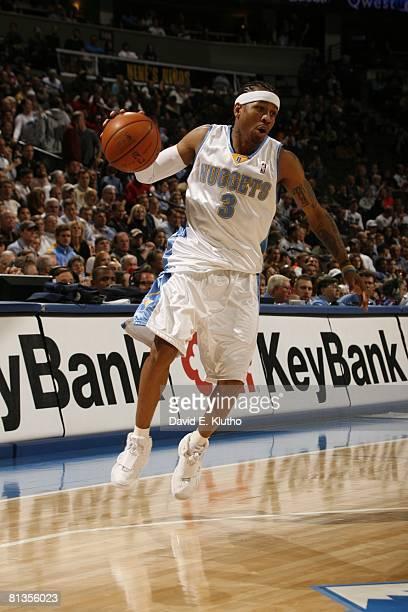 Basketball Denver Nuggets Allen Iverson in action vs Portland Trail Blazers Denver CO
