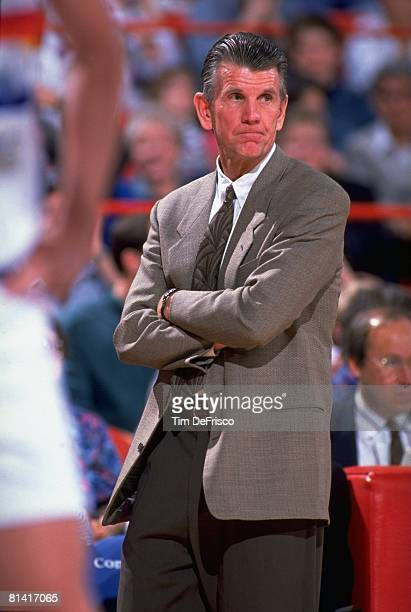 Basketball Denver Nuggets coach Paul Westhead during game vs Utah Jazz Denver CO 4/7/1992