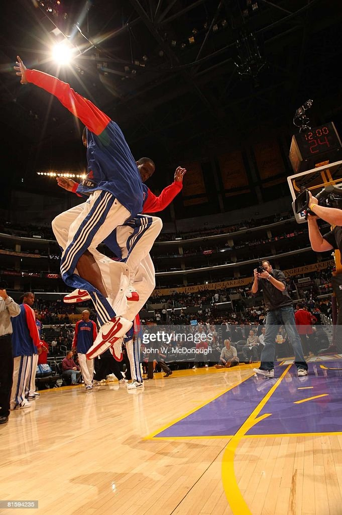 Detroit Pistons Ronald Murray (6) and Richard Hamilton (32) chest bump during player introductions before game vs Los Angeles Lakers, Los Angeles, CA