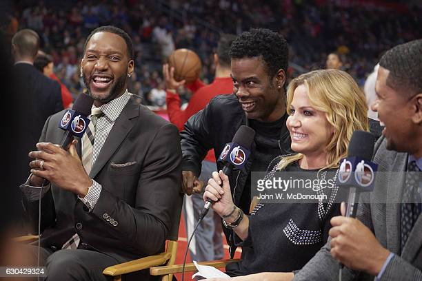 ESPN analyst Tracy McGrady courtside with comedian Chris Rock and ESPN reporter Michelle Beadle before Los Angeles Clippers vs Golden State Warriors...
