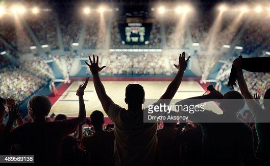 Basketball fans at basketball arena