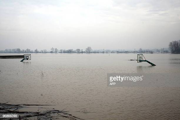 A basketball field of in the village of Pithio some 460 km northeast of Thessaloniki is flooded on February 17 2010 The northern prefecture of Evros...