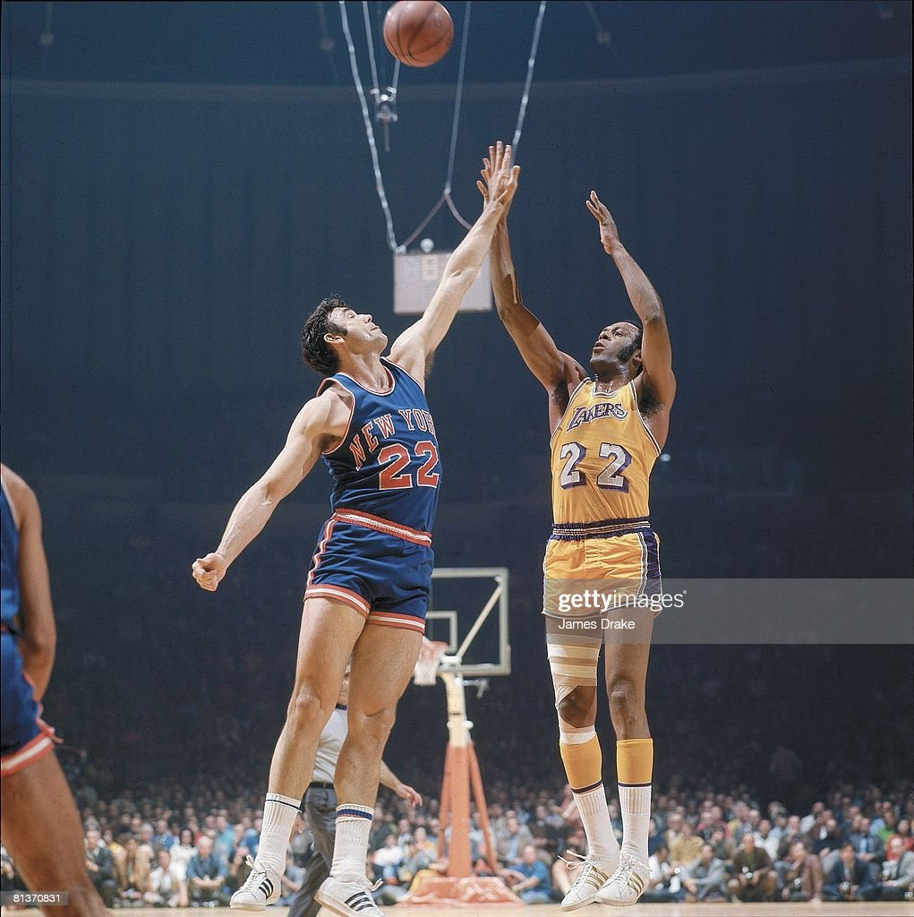 Basketball finals Los Angeles Lakers Elgin Baylor in action vs New York Knicks Dave DeBusschere Los Angeles CA 5/1/1970