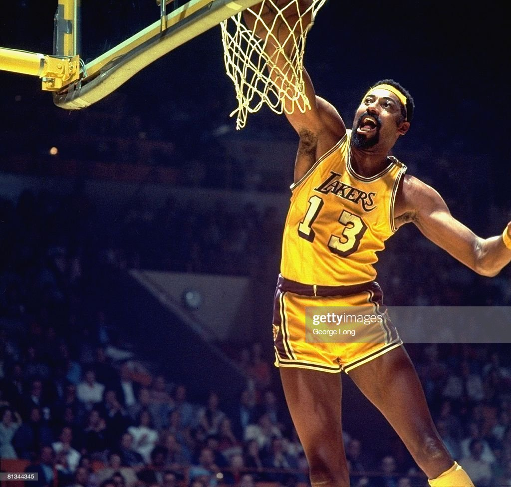 finals, Los Angeles Lakers Wilt Chamberlain (13) in action, making dunk vs New York Knicks, Inglewood, CA 4/30/1973--5/3/1973