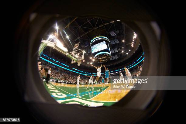 Fisheye view of Charlotte Hornets Jeremy Lamb in action shooting vs Boston Celtics Abdel Nader at TD Garden Boston MA CREDIT Erick W Rasco