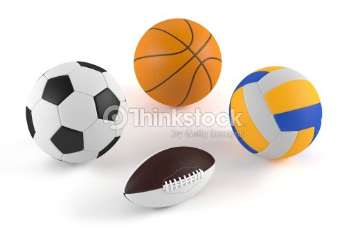 Color Sport Background Football Basketball Hockey Stock: Basketball Football Volleyball Rugby Balls Stock Photo