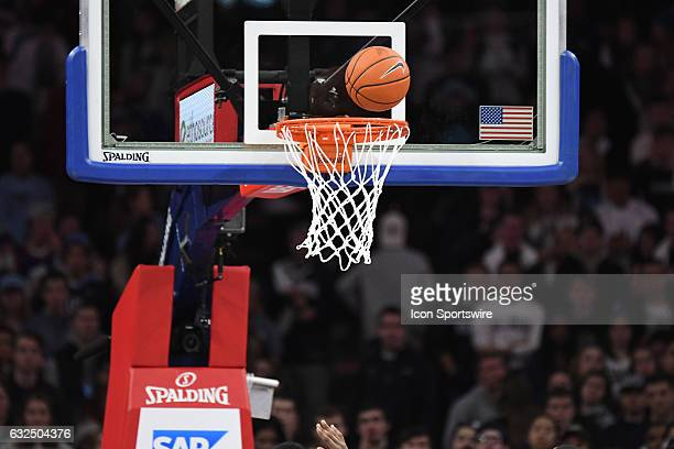 A basketball gets ready to drop during a NCAA basketball game between the Providence Friars and the Villanova Wildcats on January 21 at the Wells...