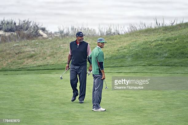 Golden State Warriors guard Steph Curry and his father former NBA player Dell Curry play a round of golf at Spyglass Hill GC Pebble Beach CA CREDIT...