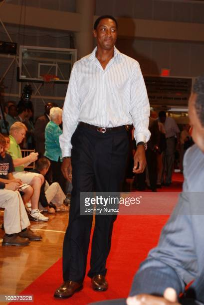 Basketball Hall of Fame inductee Scottie Pippen attends the Sean John jacket presentation at the Naismith Memorial Basketball Hall Of Fame on August...