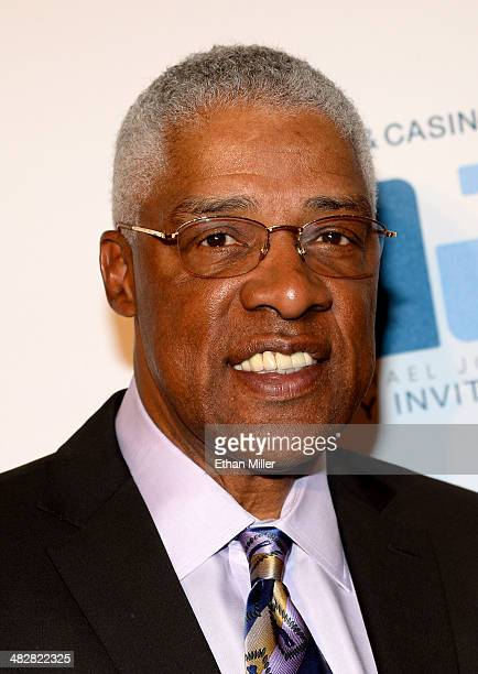 Hall of Fame NBA player Julius 'Dr J' Erving arrives at the 13th annual Michael Jordan Celebrity Invitational gala at the ARIA Resort Casino at...