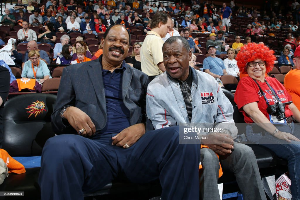 Basketball Hall of Fame members Artis Gilmore and Calvin Murphy attend the game between the Phoenix Mercury and Connecticut Sun in Round Two of the 2017 WNBA Playoffs on September 10, 2017 at Mohegan Sun Arena in Uncasville, CT.