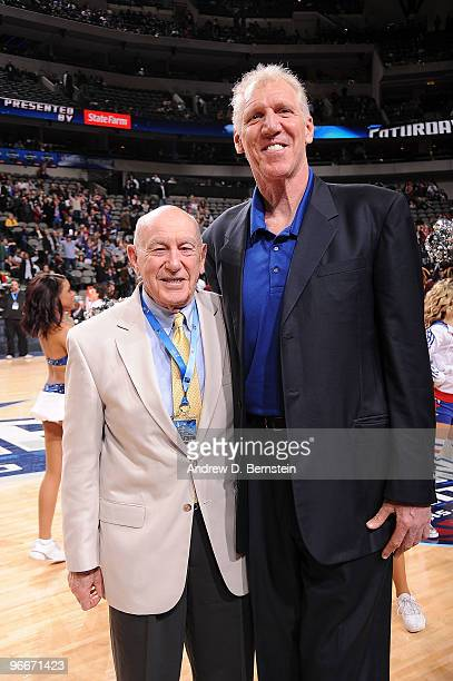 Basketball Hall of Famers Jack Ramsay and Bill Walton pose for a portrait prior toduring the Haier Shooting Stars Competition as part of All Star...