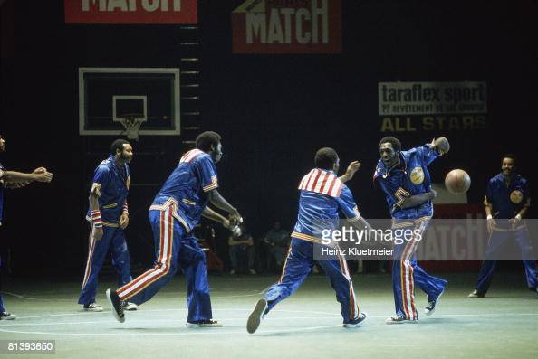 Basketball Harlem Globetrotters Meadowlark Lemon in action before game Paris FRA 6/29/1978