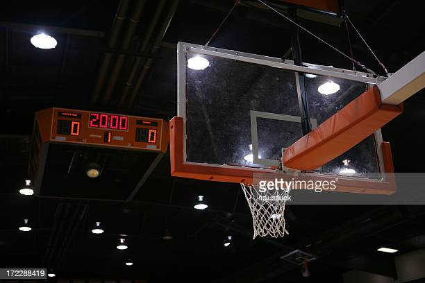 A basketball hoop and a scoreboard above that