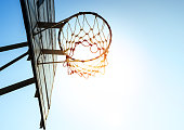 Basketball hoop in sunlight and sky / for goal concept