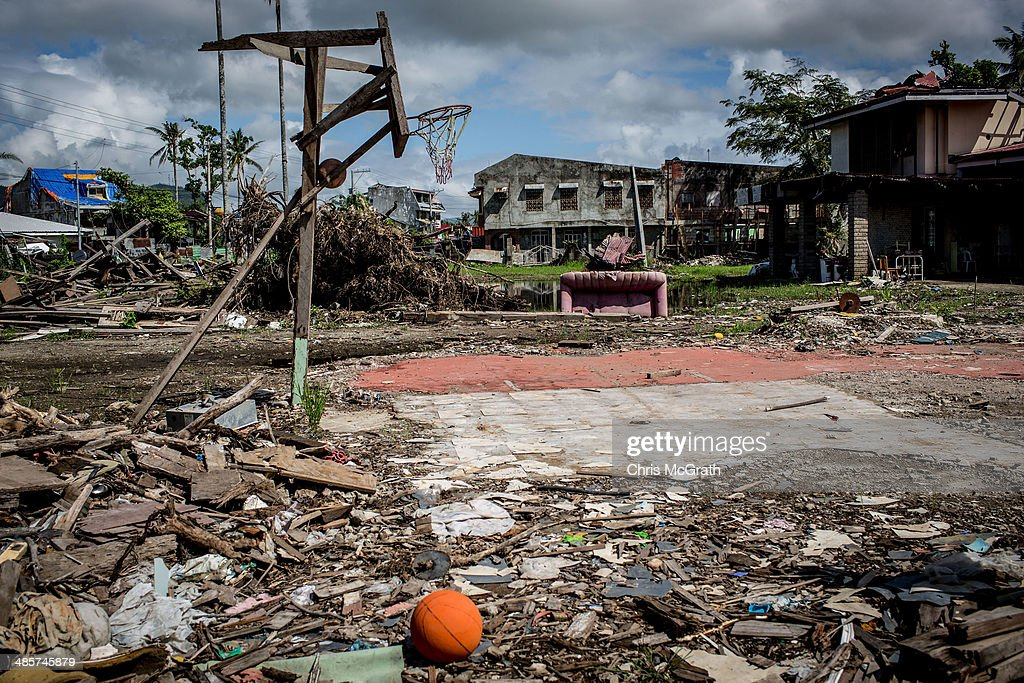 A basketball hoop is seen on April 19, 2014 in Tacloban, Leyte, Philippines. Basketball is the most popular sport in the Philippines. In the aftermath of Superstorm Yolanda that struck the coast on November 8, 2013 leaving more than 6000 dead and many more homeless, basketball hoops were some of the first things to be repaired and rebuilt amongst the rubble, showing the Filipino's resilience and intense love for the sport. Five months after the storm, basketball courts have re-emerged in large numbers across the damaged provinces using any available space and many being rebuilt from storm debris.