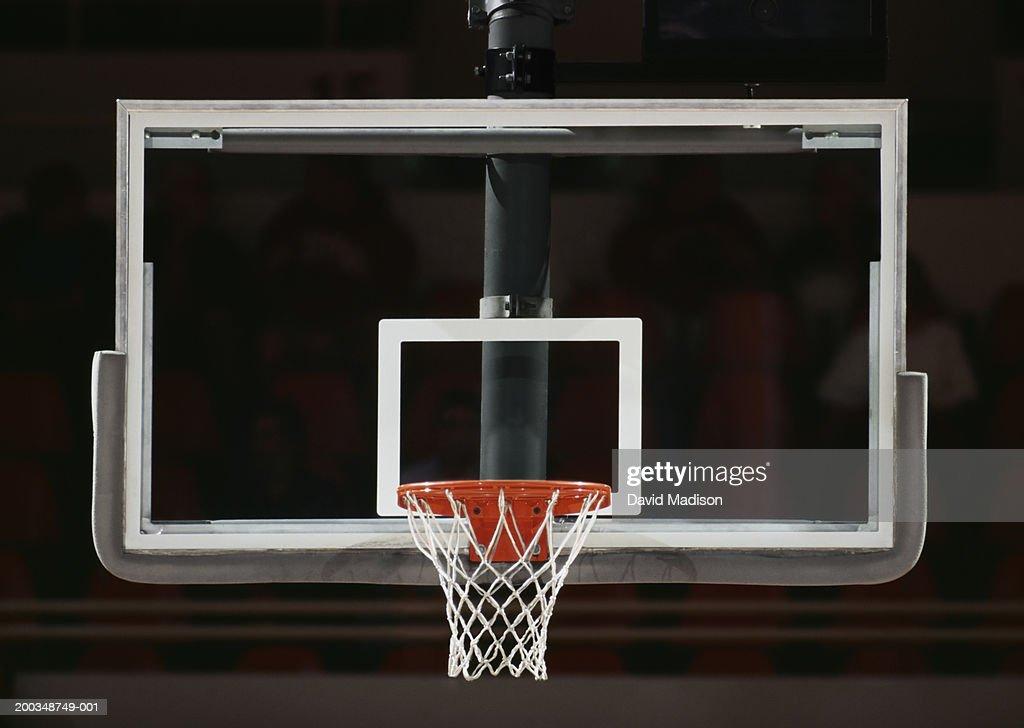 Basketball hoop, net and backboard, close-up