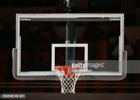 Basketball hoop, net and backboard, close-up