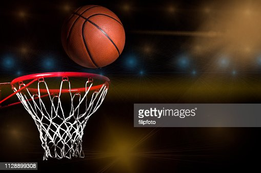 Basketball hoop net and ball side view : Stock Photo