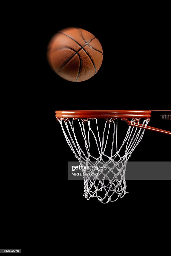 Basketball hoop net and ball side view
